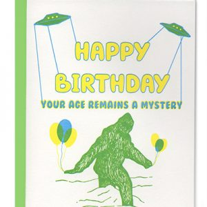 Letterpress Birthday UFO Bigfoot