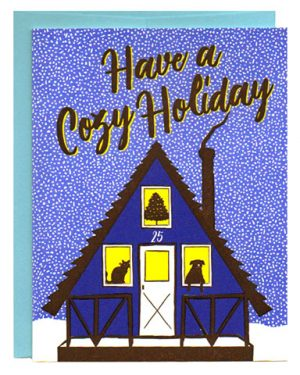 Cozy Holiday A-Frame House Letterpress Card