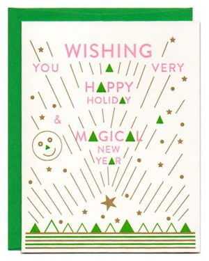 Deco Modern Letterpress Holiday Greeting Card New Years