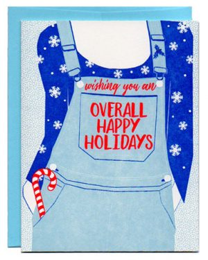 overall letterpress greeting card holiday