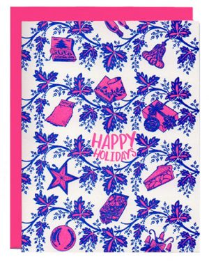 retro holiday letterpress greeting card