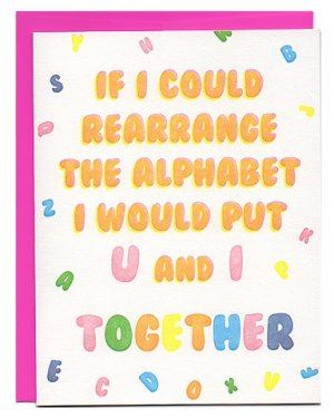 pick-up lines letterpress love card