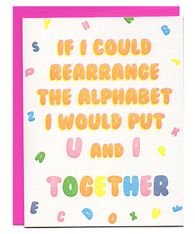 pick-up lines letterpress love card