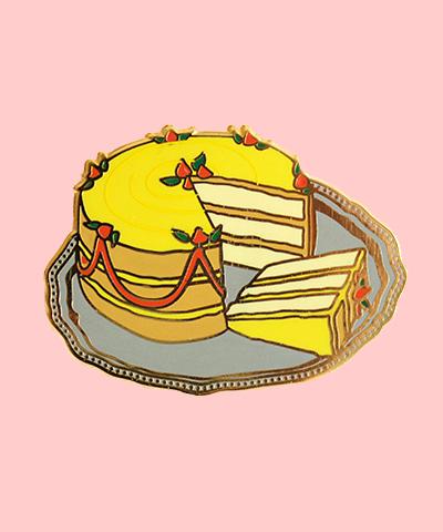 yellow cake birthday enamel pin