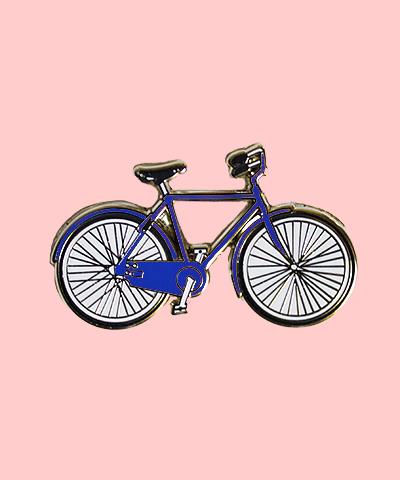 bike enamel pin navy