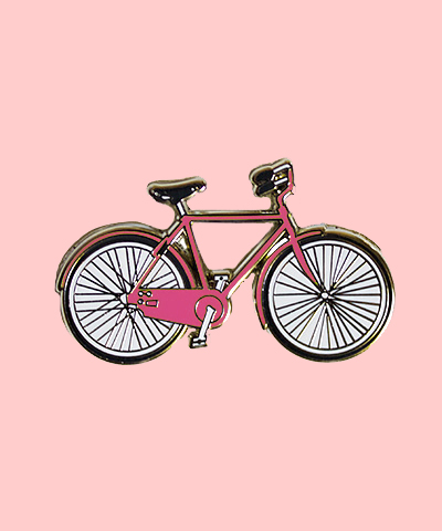 pink enamel bike pin