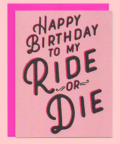 ride or die birthday card