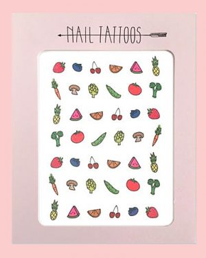 Fruit and Veggie Nail Tattoos