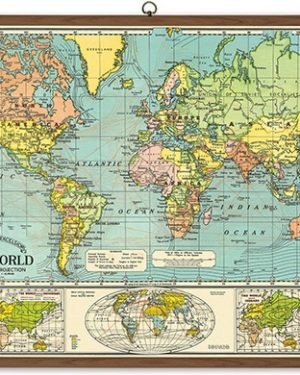 World Map Vintage School Chart detail