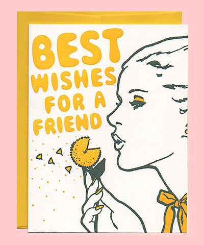 Best Wishes Letterpress Friendship Card